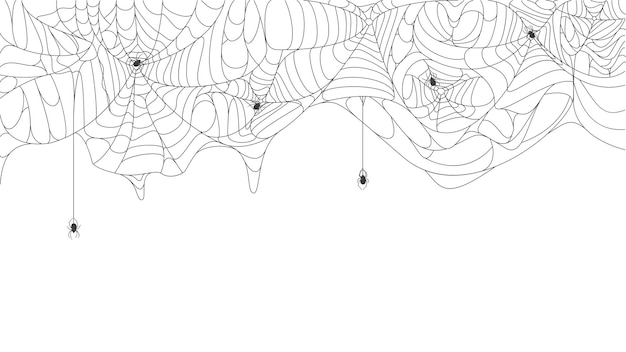 Halloween cobweb background spooky torn hanging spider web with black spiders vector background