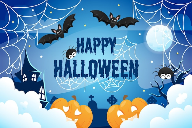 Halloween cobweb background with bats