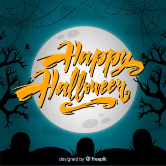 Halloween cobweb background with lettering