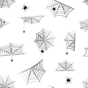 Halloween cobweb seamless pattern, hanging spider. spider web background, creepy print. illustration