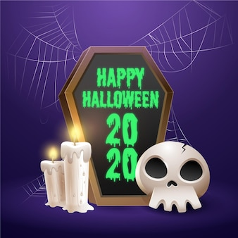 Cornice bara di halloween con elementi realistici