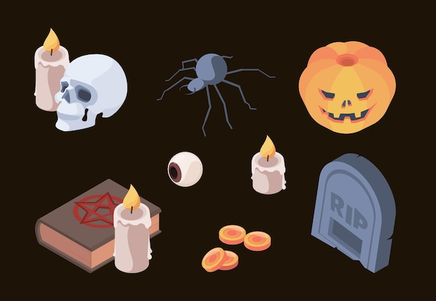 할로윈 컬렉션입니다. 공포 무서운 상징 두개골 뼈 묘지 무덤 유령 가을 축하를 위한 벡터 아이소메트릭 세트 항목입니다. 할로윈 무서운 묘비, 다채로운 요소 그림