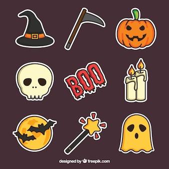Raccolta di halloween con disegno piatto