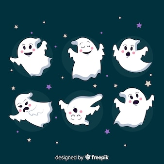 Halloween collection with ghosts on flat design