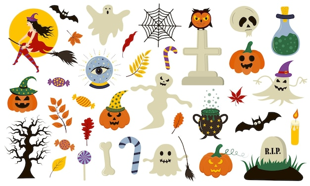 Halloween collection with hand drawn elements. perfect for holiday, decoration, stickers.