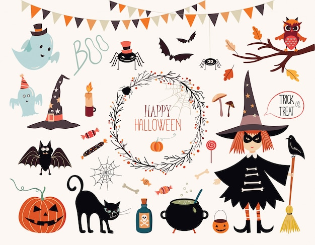 Halloween collection with hand drawn elements, witch, ghosts and wreath