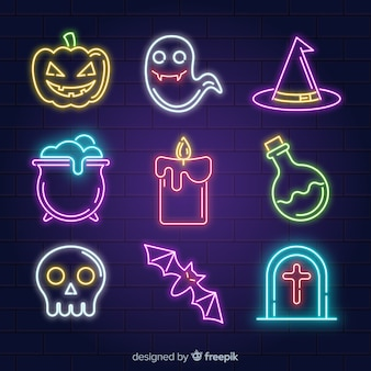 Halloween collection with neon signs
