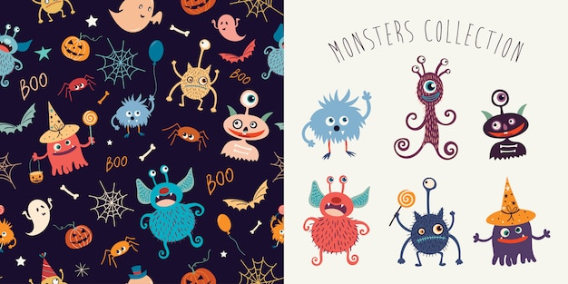 Halloween collection with seamless pattern and funny monsters