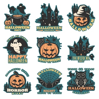 Halloween colored emblems set