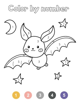 Halloween coloring book. cute cartoon bat and night sky. color by numbers.