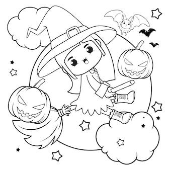 ハロウィン塗り絵かわいい女の子魔女1