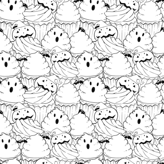 Halloween coloring book pattern with scary cupcakes, cream, bat, pumpkin.