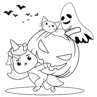 Раскраска на хэллоуин с милым единорогом12