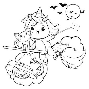Раскраска на хэллоуин с милым единорогом20