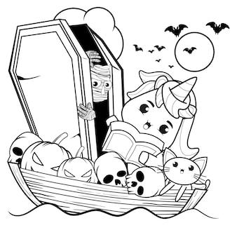 Раскраска на хэллоуин с милым единорогом27