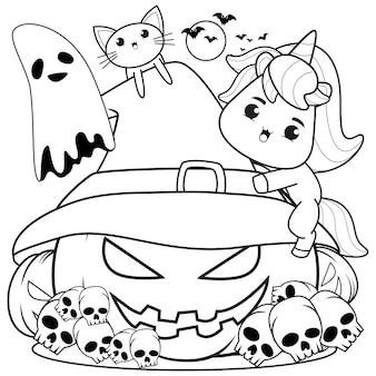 Раскраска на хэллоуин с милым единорогом29