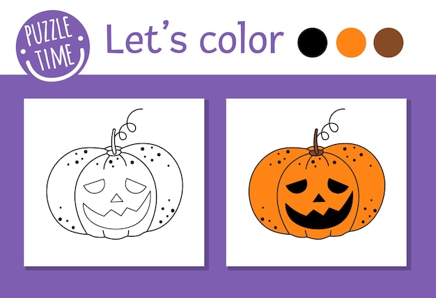 Halloween coloring page for children. cute funny pumpkin lantern. vector autumn holiday outline illustration. trick or treat dress party color book for kids with colored example