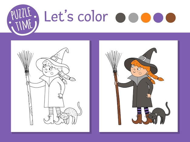 Halloween coloring page for children. cute funny witch with broom and cat. vector autumn holiday outline illustration. trick or treat dress party color book for kids with colored example