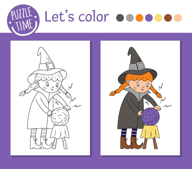 Halloween coloring page for children. cute funny witch with magic ball. vector autumn holiday outline illustration. trick or treat dress party color book for kids with colored example