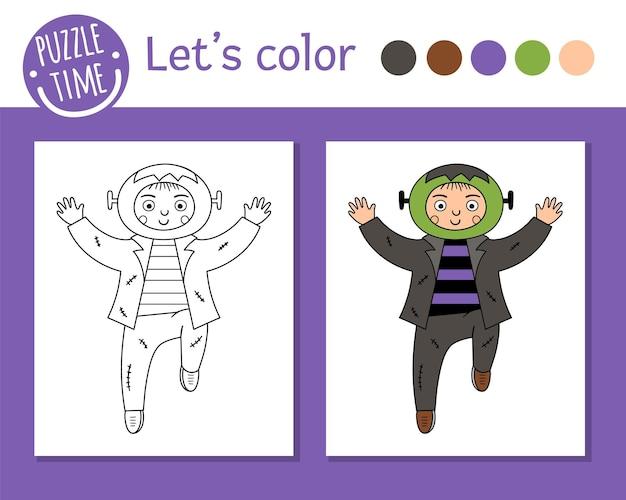Раскраска хэллоуин для детей. милый забавный мальчик одет как монстр. векторная иллюстрация наброски осеннего праздника. книжка-раскраска для детей с цветными примерами для вечеринок trick or treat