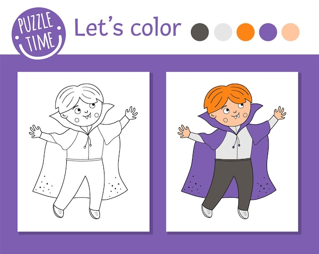 Раскраска хэллоуин для детей. милый забавный мальчик одет как вампир. векторная иллюстрация наброски осеннего праздника. книжка-раскраска для детей с цветными примерами для вечеринок trick or treat