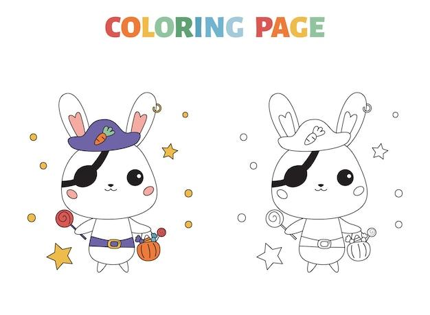 Раскраска хэллоуин с мультяшным кроликом в костюме пирата