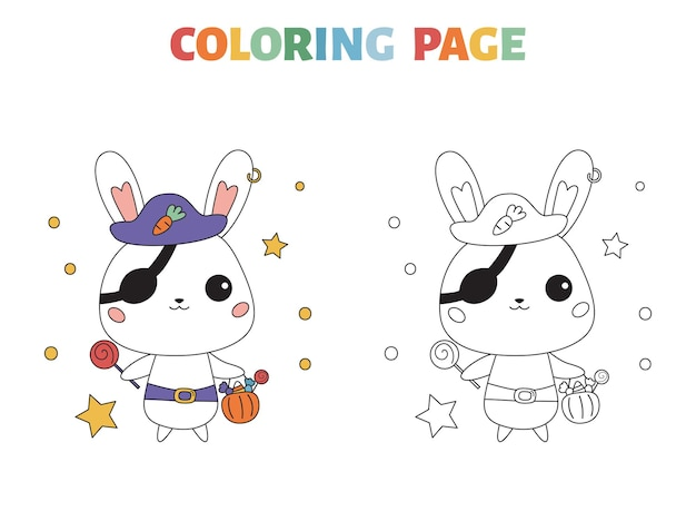 Halloween coloring page with cartoon bunny in pirate costume