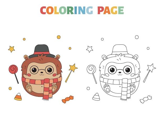 Halloween coloring page with cute kawaii hedgehog