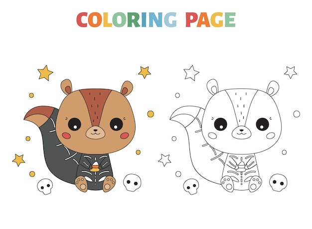 Halloween coloring page with cute squirrel in skeleton costume