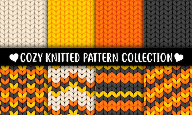 Halloween colors knitted wool texture semless pattern