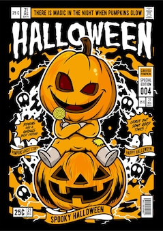 Halloween comic cover illustration
