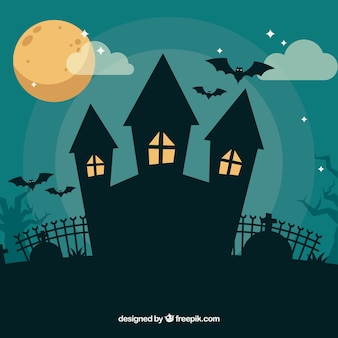 Halloween composition with creepy house