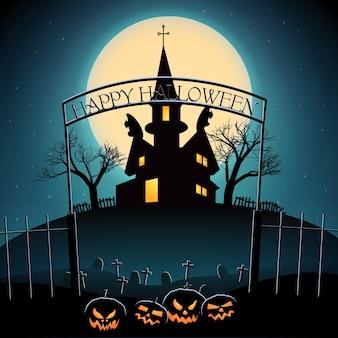 カボチャ墓地のお化け屋敷と輝く月からのランタンとハロウィーンの構成