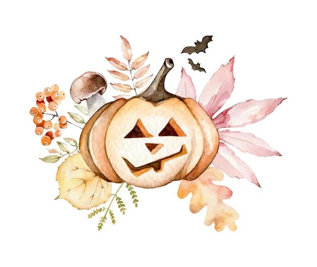Halloween composition with pumpkin