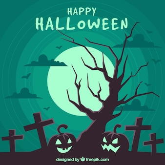 Halloween composition with tombstones and pumpkins