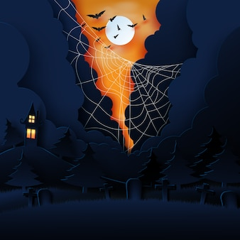 Halloween concept on black background paper art style