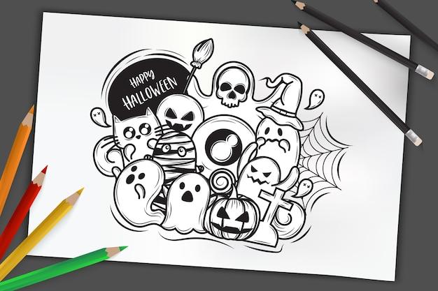 할로윈 개념, 손으로 어두운 배경에 색연필로 스케치 종이에 할로윈 유령의 그린