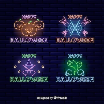 Halloween concept neon sign collection