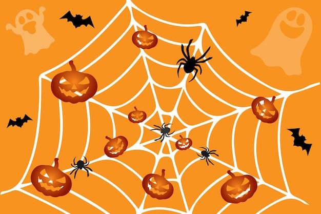 할로윈 개념, 벡터 만화 스타일, 패턴, 인쇄, 오렌지 배경에 거미줄 그리기