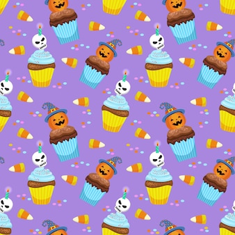 Halloween concept with cup cake and candy pattern.
