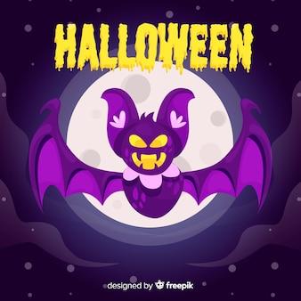 Halloween concept with flat design bat