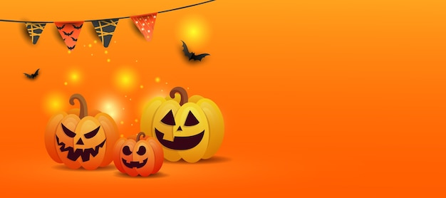 Halloween concept with jack pumpkins, black bats, colored drawing of garlands with copy space on orange gradient background