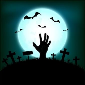 Концепция хэллоуина с рукой зомби, поднимающейся с земли и летучей мышью на фоне ночи полнолуния, иллюстрация