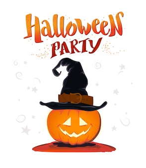 Halloween congratulation with hand written congratulation and pumpkin character in witch hat. vector illustration.
