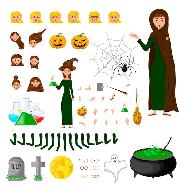 Halloween constructor set of female characters. girl with holiday attributes.