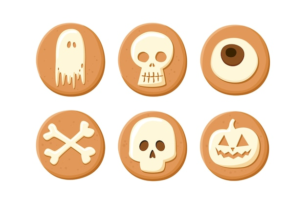 Halloween cookies on white background.