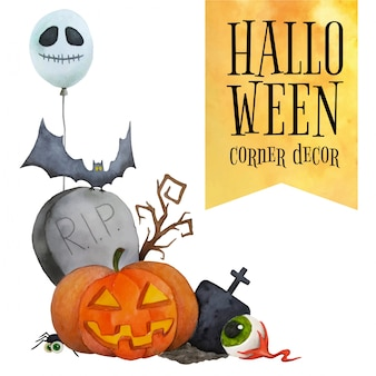 Halloween corner decor for cards and posters