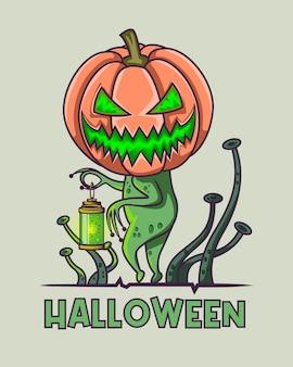ランタンを保持しているハロウィーンコロナ輝く緑のウイルス