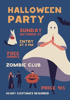 Halloween costume party flat poster vector template. zombie club celebration event invitation