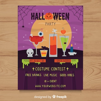 Halloween costume party poster template set in flat design